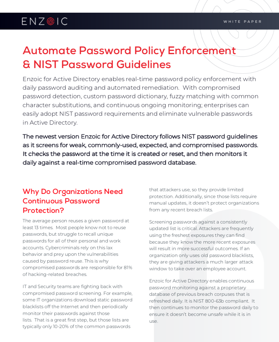 Automated Password Policy & NIST Password Guidelines