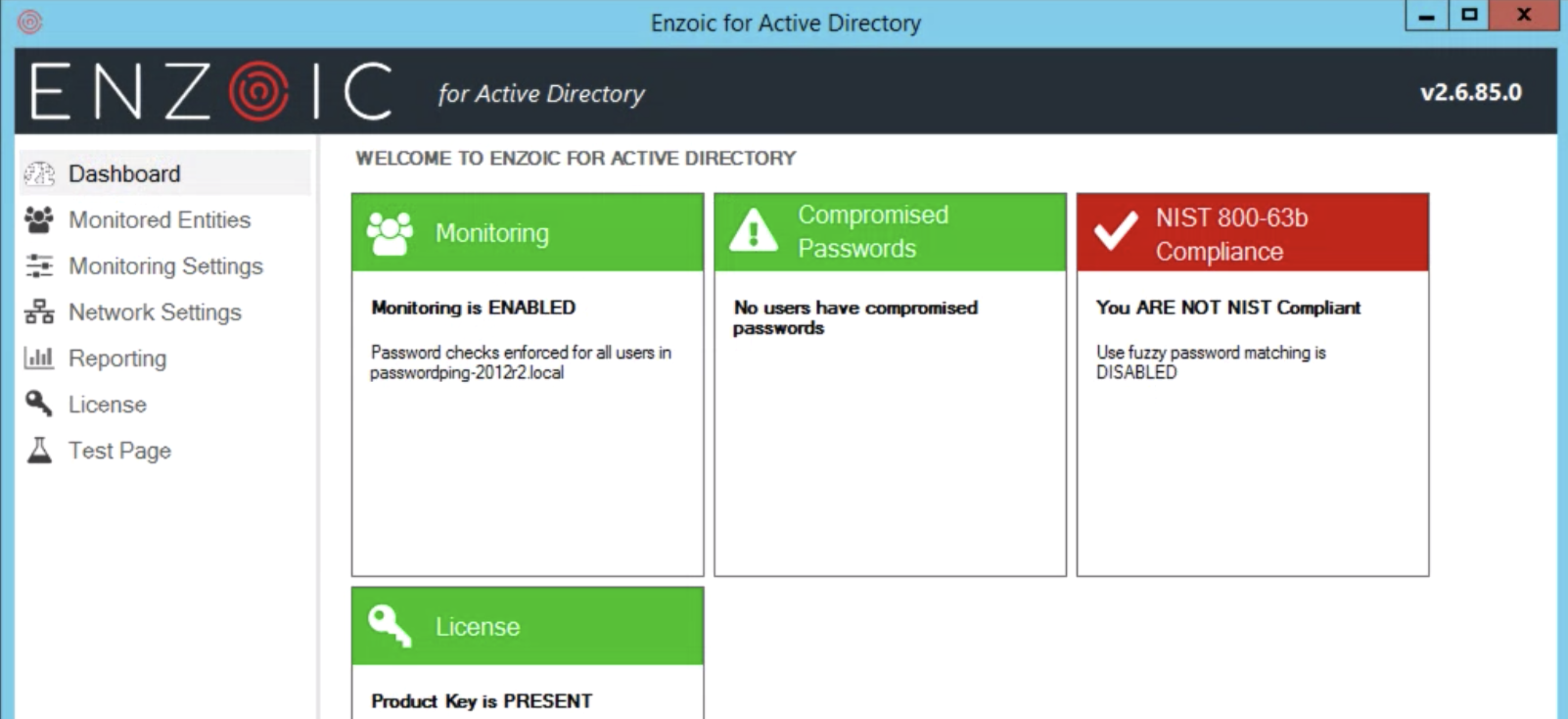 Enzoic for Active Directory 2.6 Dashboard