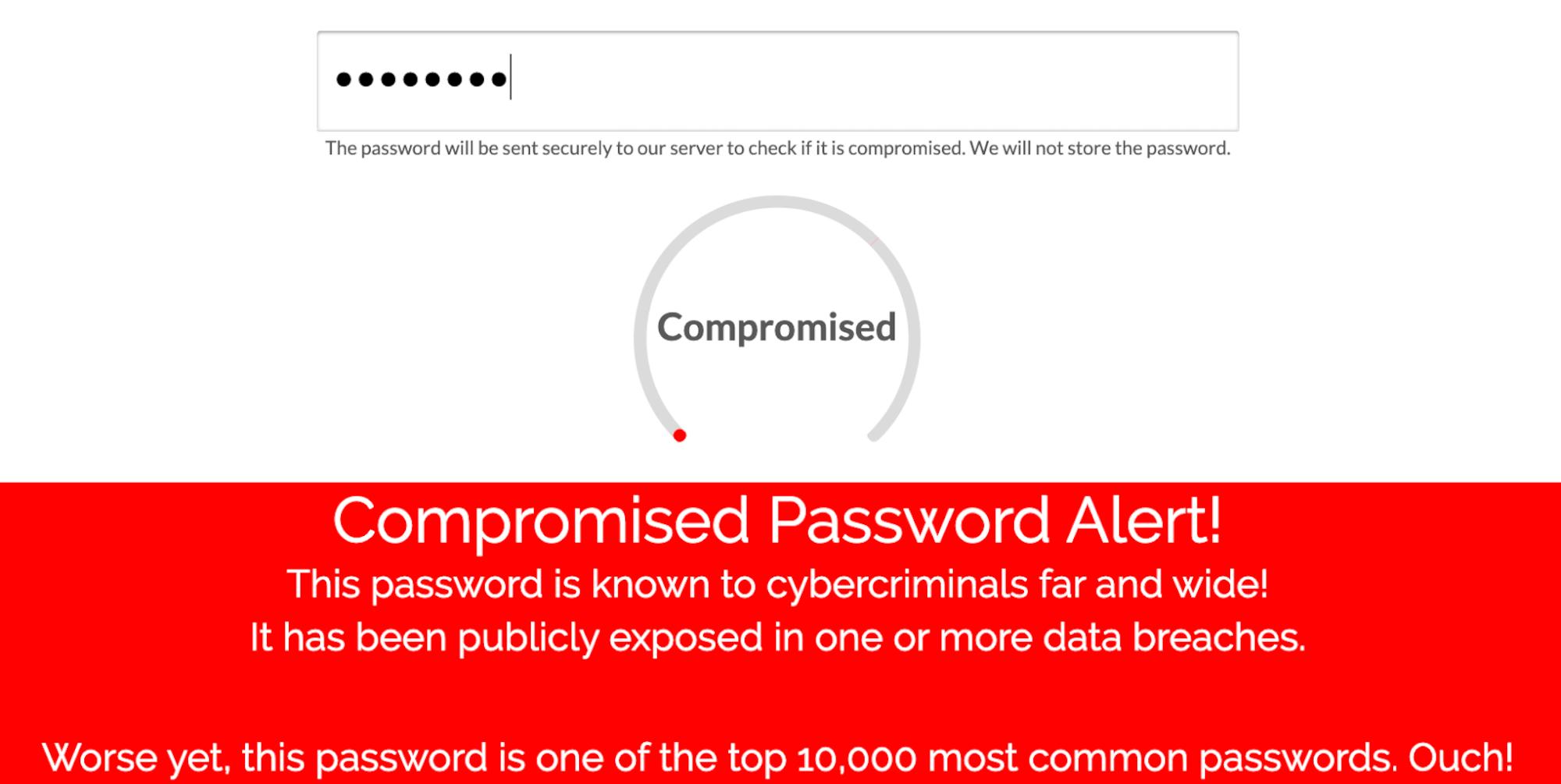 Exposed Password Screening Check