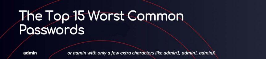 Top worst passwords